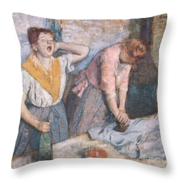 The Laundresses Throw Pillow by Edgar Degas