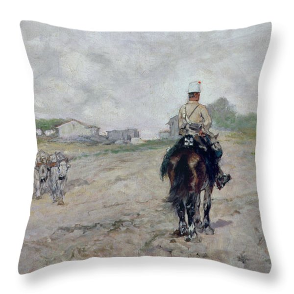 The Light Cavalryman Throw Pillow by Giovanni Fattori