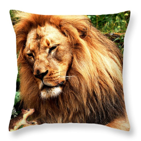 The Lion And The Mouse Throw Pillow by Wingsdomain Art and Photography
