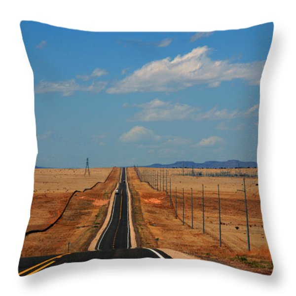 The long road to Santa Fe Throw Pillow by Susanne Van Hulst