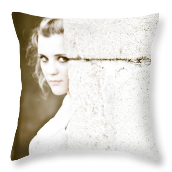 The Look Behind The Pillar Throw Pillow by Loriental Photography