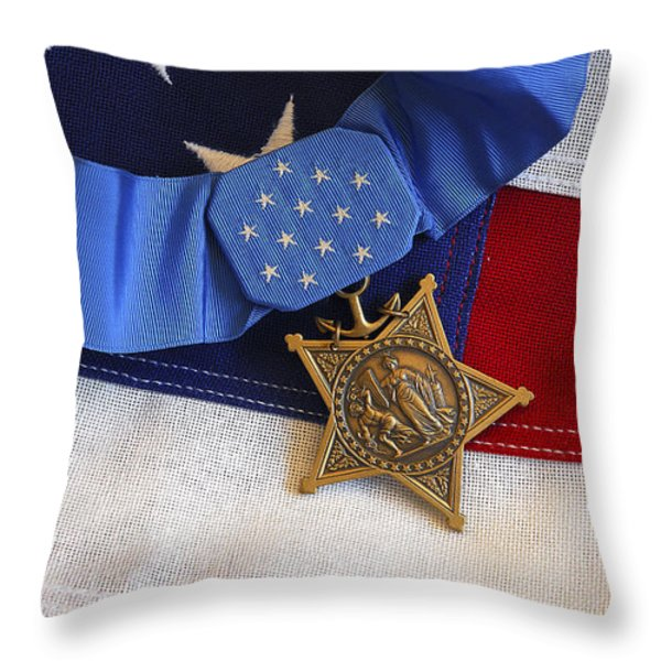 The Medal Of Honor Rests On A Flag Throw Pillow by Stocktrek Images