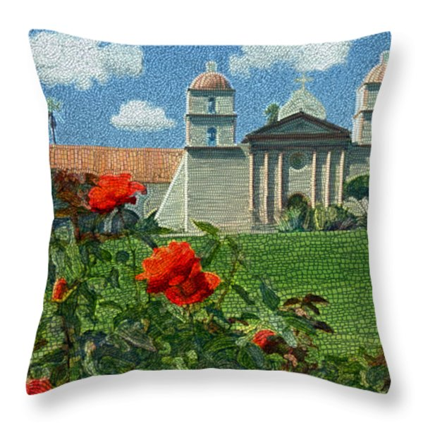 The Mission Santa Barbara Throw Pillow by Kurt Van Wagner