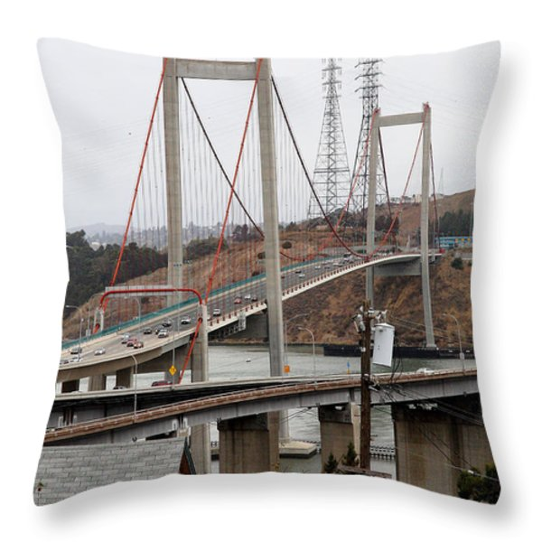 The New Alfred Zampa Memorial Bridge and The Old Carquinez Bridge . 7D8915 Throw Pillow by Wingsdomain Art and Photography