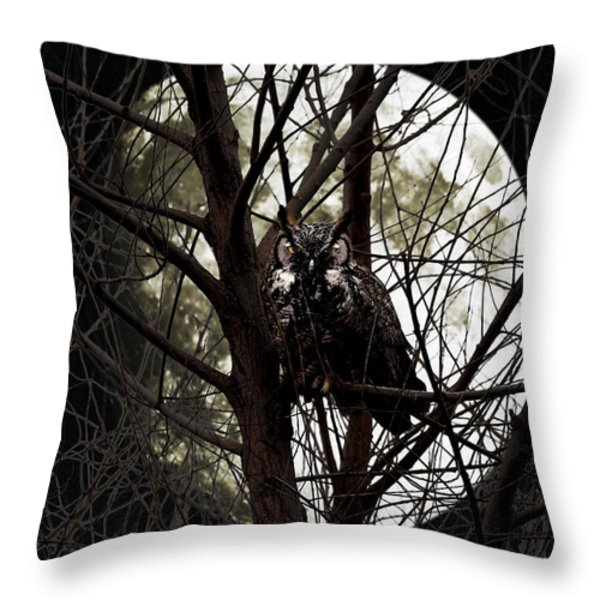 The Night Owl and Harvest Moon Throw Pillow by Wingsdomain Art and Photography