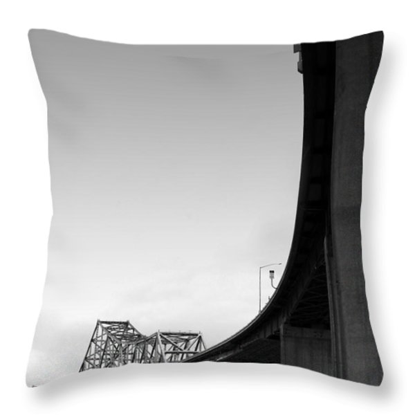 The Old Carquinez Bridge . Black And White . 7d8832 Throw Pillow by Wingsdomain Art and Photography