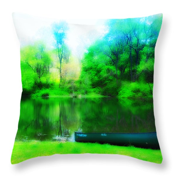 The Old Fishin Hole Throw Pillow by Bill Cannon