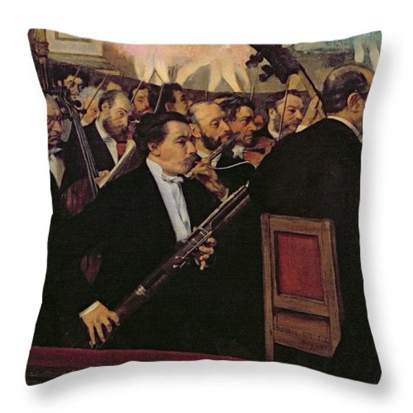 The Opera Orchestra Throw Pillow by Edgar Degas