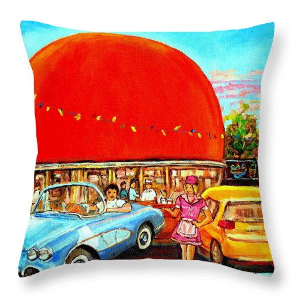 The Orange Julep Montreal Throw Pillow by Carole Spandau