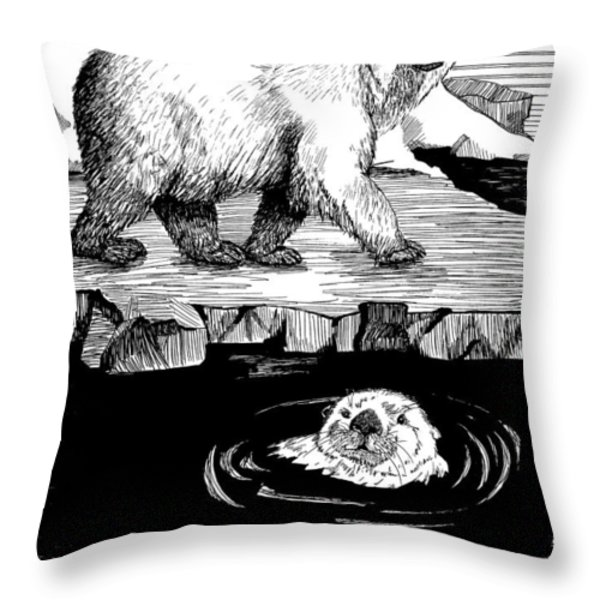 The Otter Loved The Bear Throw Pillow by Laura Brightwood