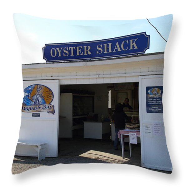 The Oyster Shack at Drakes Bay Oyster Company in Point Reyes California . 7D9832 Throw Pillow by Wingsdomain Art and Photography
