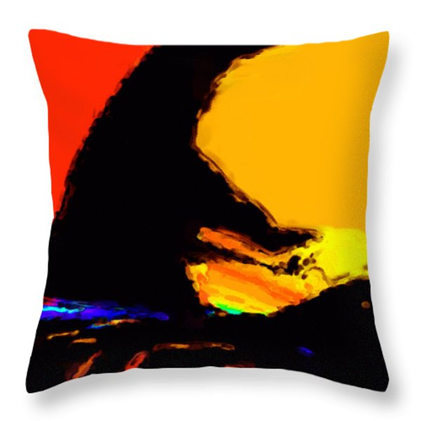 The Pianist Throw Pillow by Richard Rizzo