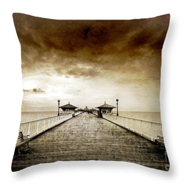 the pier at Llandudno Throw Pillow by Meirion Matthias