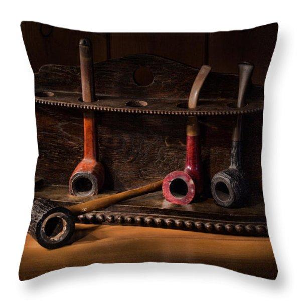 The Pipe Rack Throw Pillow by Ann Garrett