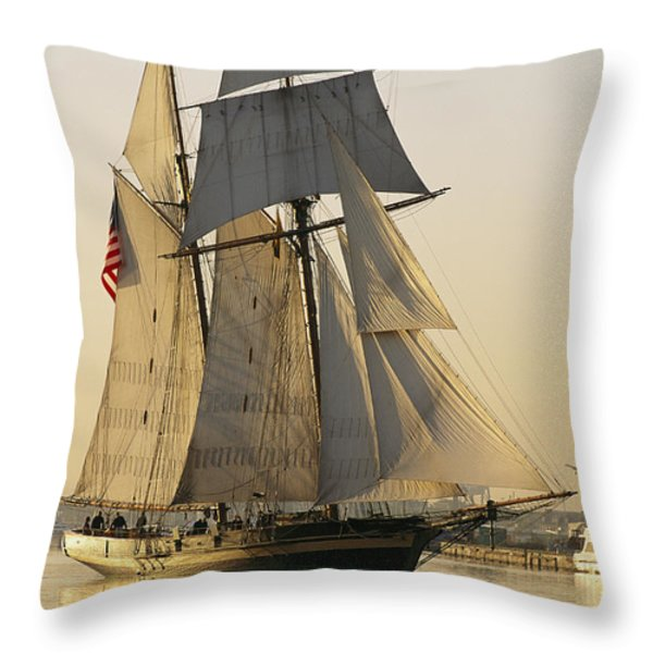 The Pride Of Baltimore Clipper Ship Throw Pillow by George Grall
