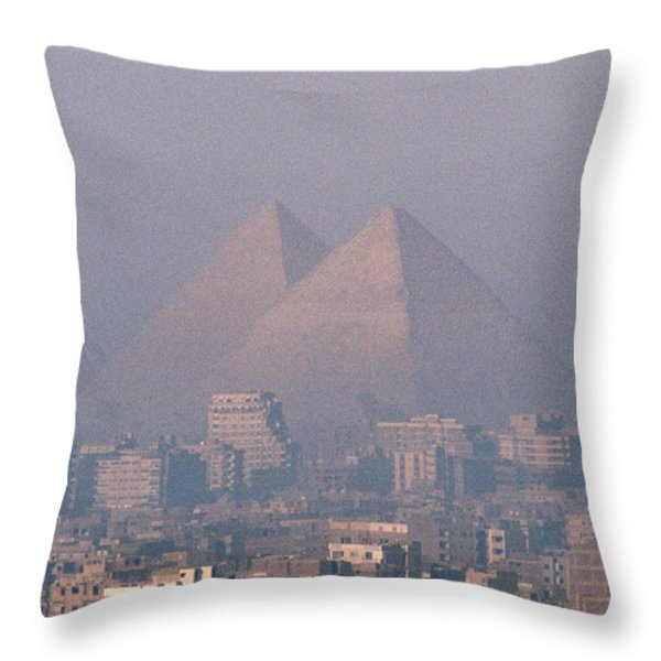 The Pyramids At Giza And Cairo Throw Pillow by Martin Gray