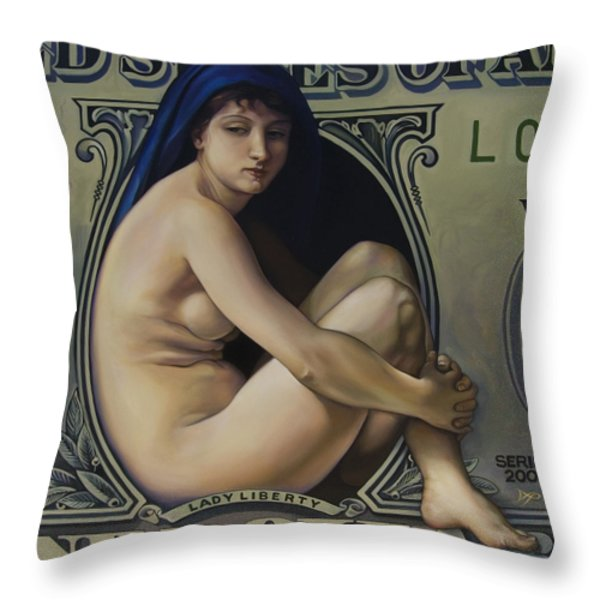 The Rape Of Lady Liberty Throw Pillow by Patrick Anthony Pierson