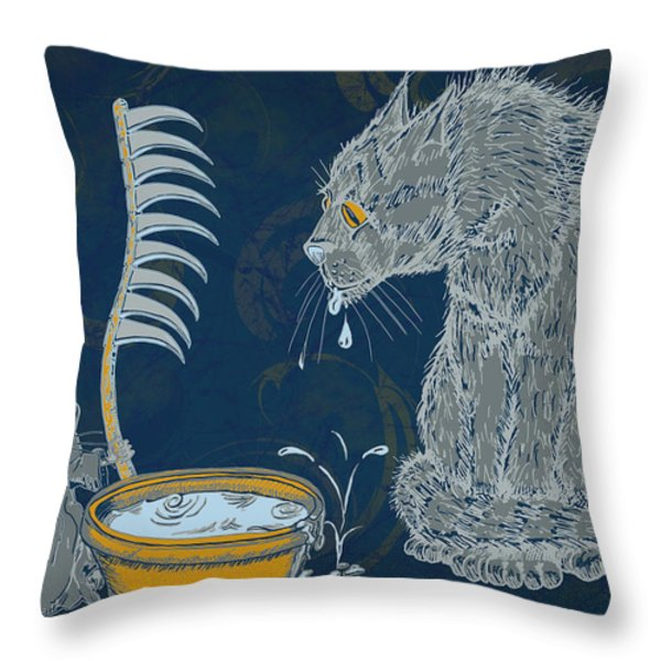The Rat Reaper Throw Pillow by Laura Brightwood