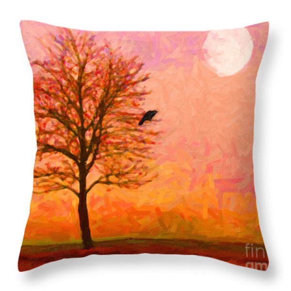 The Raven and The Moon Throw Pillow by Wingsdomain Art and Photography
