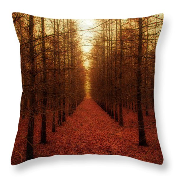 The Red Forest Throw Pillow by Amy Tyler
