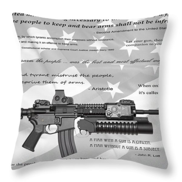 THE RIGHT TO BEAR ARMS Throw Pillow by Daniel Hagerman