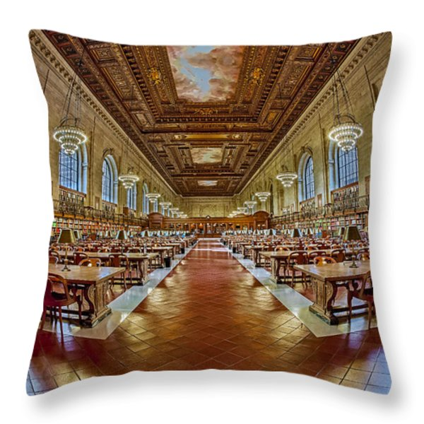 The Rose Main Reading Room Nypl Throw Pillow by Susan Candelario