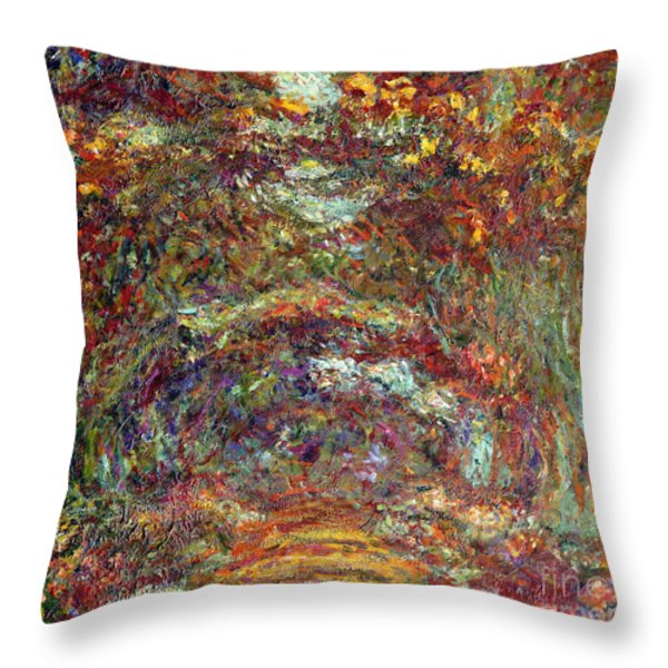 The Rose Path Giverny Throw Pillow by Claude Monet