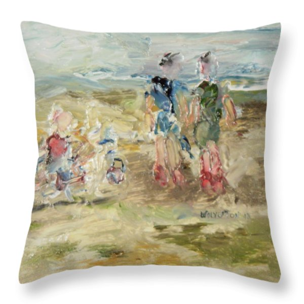 The Sand Castle Throw Pillow by Edward Wolverton