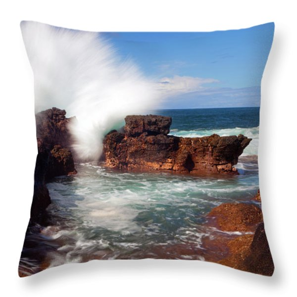 The Sea Explodes Throw Pillow by Mike  Dawson