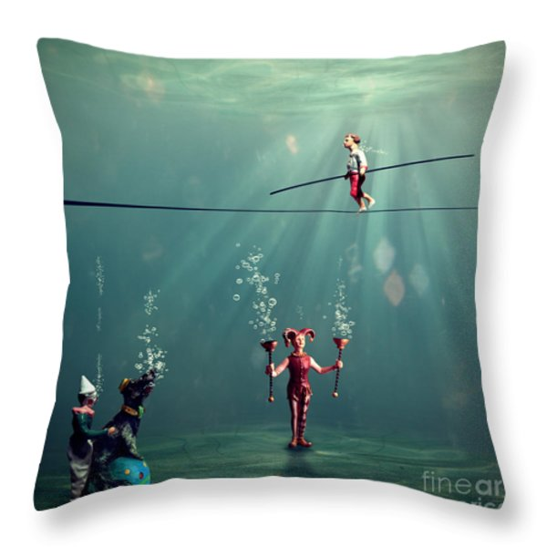 The Secret Venetian Circus Throw Pillow by Martine Roch