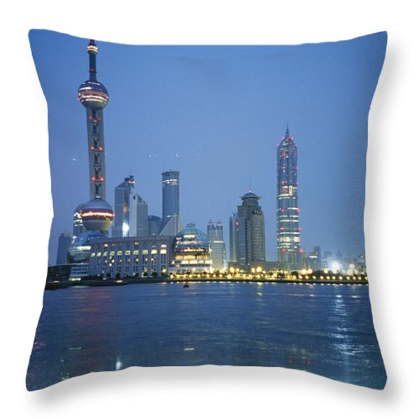 The Shanghai Skyline And Riverfront Throw Pillow by Raul Touzon