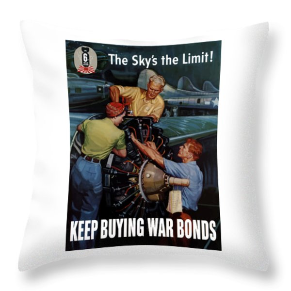 The Sky's The Limit Throw Pillow by War Is Hell Store
