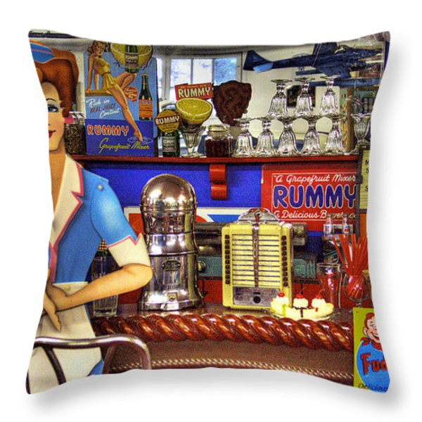The Soda Fountain Throw Pillow by David Patterson