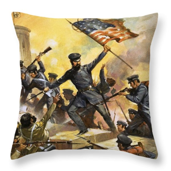 The Storming Of The Fortress At Chapultec Throw Pillow by English School