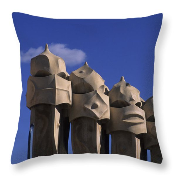 The Strangely Shaped Rooftop Chimneys Throw Pillow by Taylor S. Kennedy