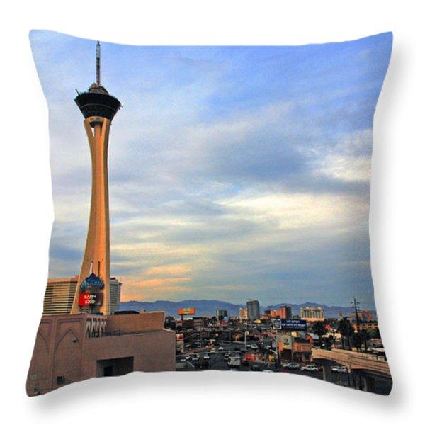The Stratosphere in Las Vegas Throw Pillow by Susanne Van Hulst