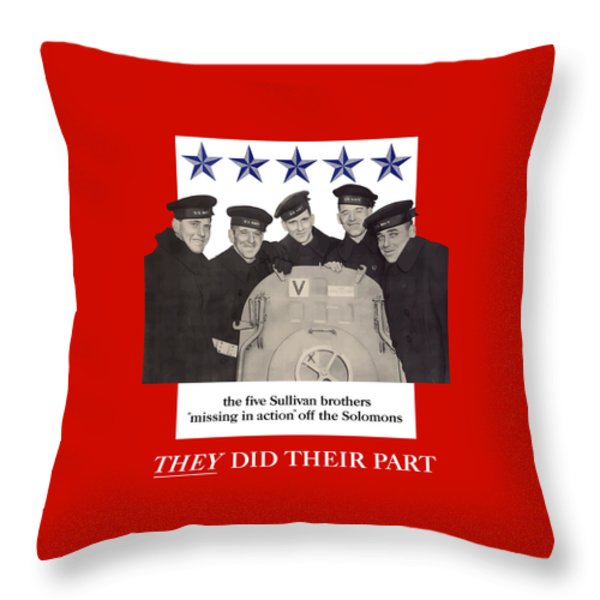 The Sullivan Brothers Throw Pillow by War Is Hell Store