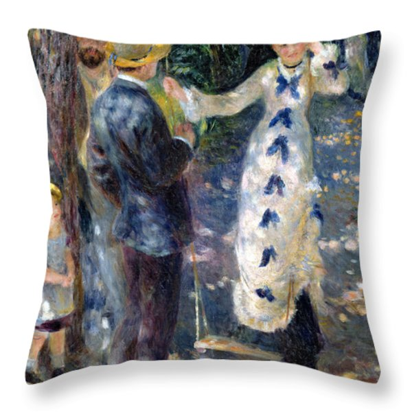 The Swing Throw Pillow by Pierre Auguste Renoir