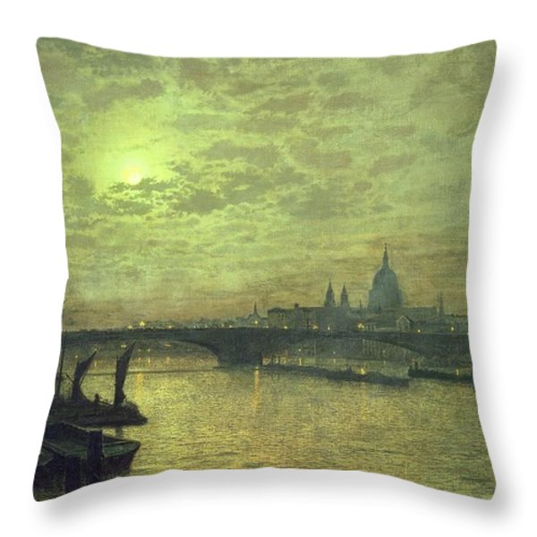 The Thames By Moonlight With Southwark Bridge Throw Pillow by John Atkinson Grimshaw
