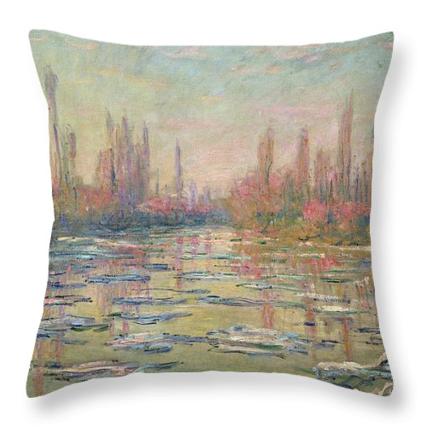 The Thaw On The Seine Throw Pillow by Claude Monet