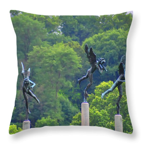 The Three Angels Throw Pillow by Bill Cannon