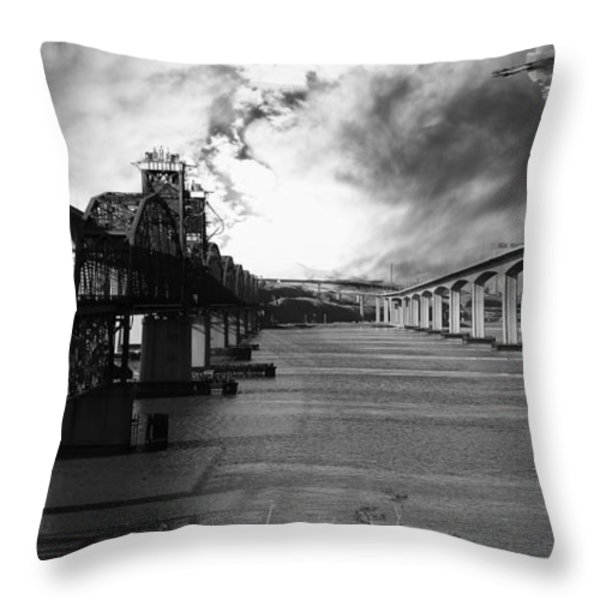 The Three Benicia-Martinez Bridges . A Journey Through Time . Black and White Throw Pillow by Wingsdomain Art and Photography