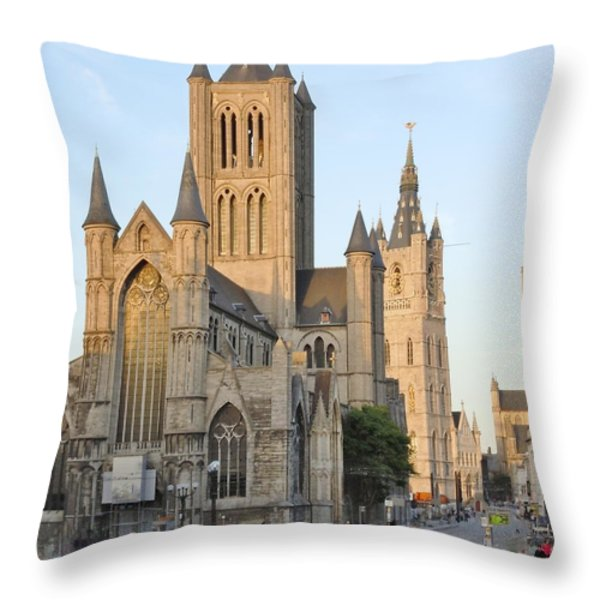 The Three Towers of Gent Throw Pillow by Marilyn Dunlap