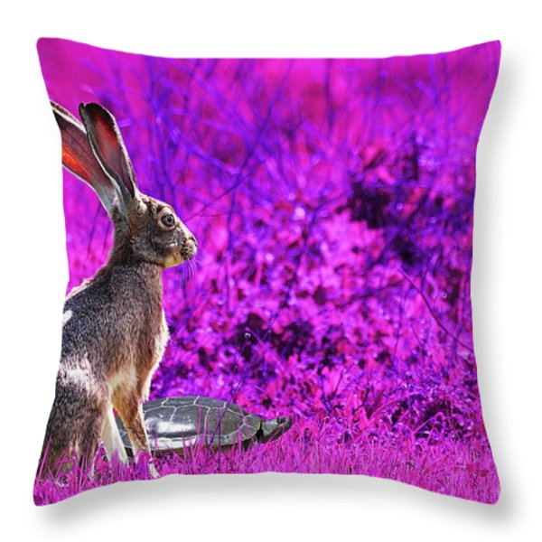 The Tortoise and the Hare . Magenta Throw Pillow by Wingsdomain Art and Photography