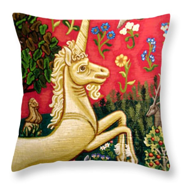 The Unicorn Throw Pillow by Genevieve Esson