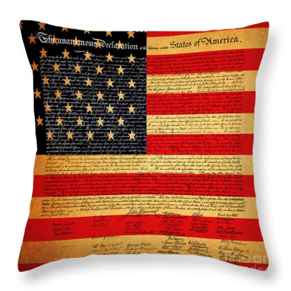 The United States Declaration of Independence - American Flag - square Throw Pillow by Wingsdomain Art and Photography