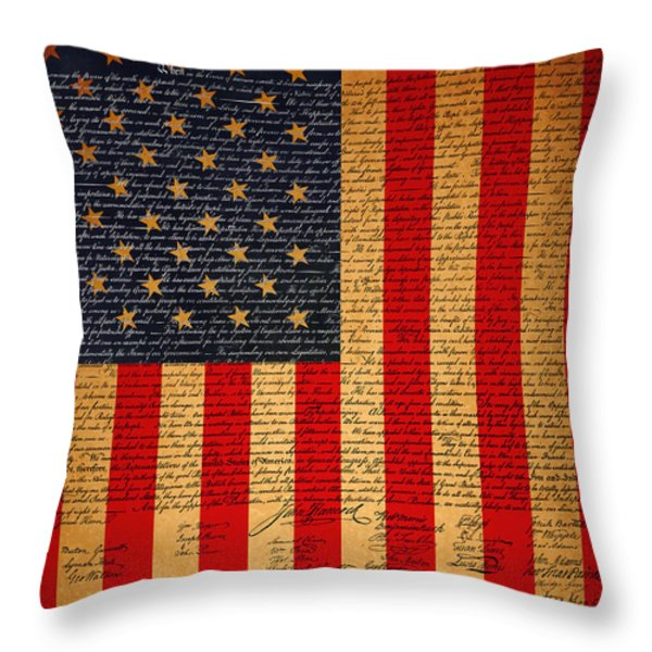 The United States Declaration of Independence And The American Flag 20130215 Throw Pillow by Wingsdomain Art and Photography