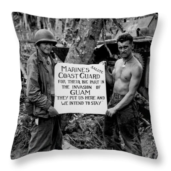 The U.s. Marines Salute The U.s. Coast Throw Pillow by Stocktrek Images