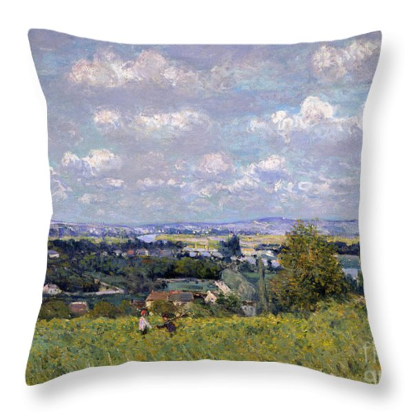 The Valley Of The Seine At Saint Cloud Throw Pillow by Alfred Sisley
