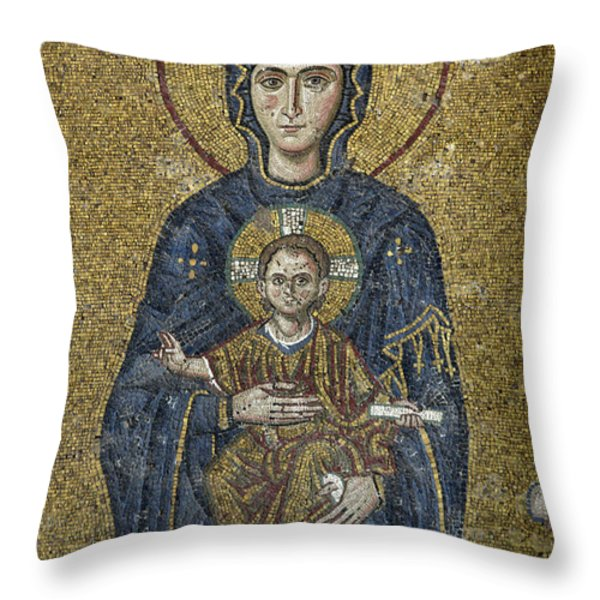 The Virgin Mary Holds The Child Christ On Her Lap Throw Pillow by Ayhan Altun